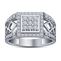 Solid Sterling Silver 14k White Platinum Plated White Diamond Men's Wedd... - £80.53 GBP