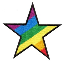 Star gay pride 70's retro disco fab superstar applique iron-on patch new... - $2.98