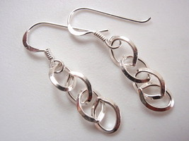 Quadruple Links Dangle Earrings 925 Sterling Silver Corona Sun Jewelry - $11.44