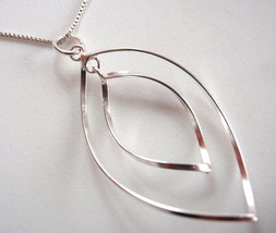 Double Wavey Curved Hoop Necklace 925 Sterling Silver Corona Sun Jewelry - $18.49