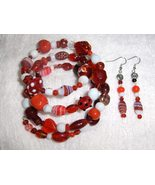 Red and White Delight Glass and Ceramic Bead Gypsy Bracelet and Earring Set - $8.00