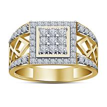 New Men's Fashion White Created Diamond 14k Gold Plated Engagement Weddi... - £80.53 GBP