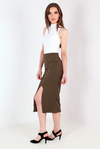 New Womens Crepe Split Front Pencil Midi Skirt Khaki Size 8 14 Uk - $8.63