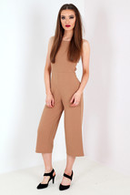 Women Ladies Strappy  tie back culotte jumpsuit camel Size 6-14 UK - $15.29