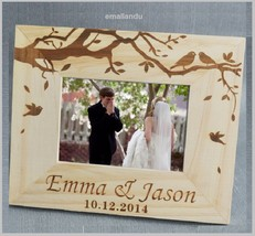 custom wood photo frame personalized name and date love wedding gift for... - $20.78