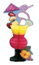 Tropical Drink Luau Beach Pool Party Centerpiece 6.5 in x 12 in Tiki Coc... - ₨331.85 INR