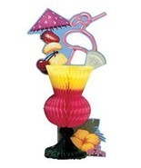 Tropical Drink Luau Beach Pool Party Centerpiece 6.5 in x 12 in Tiki Coc... - $90,82 MXN