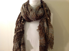 "NEW Brown-Tan Patterned Print 100% Polyester Crinkly Scarf 76""x 44"""