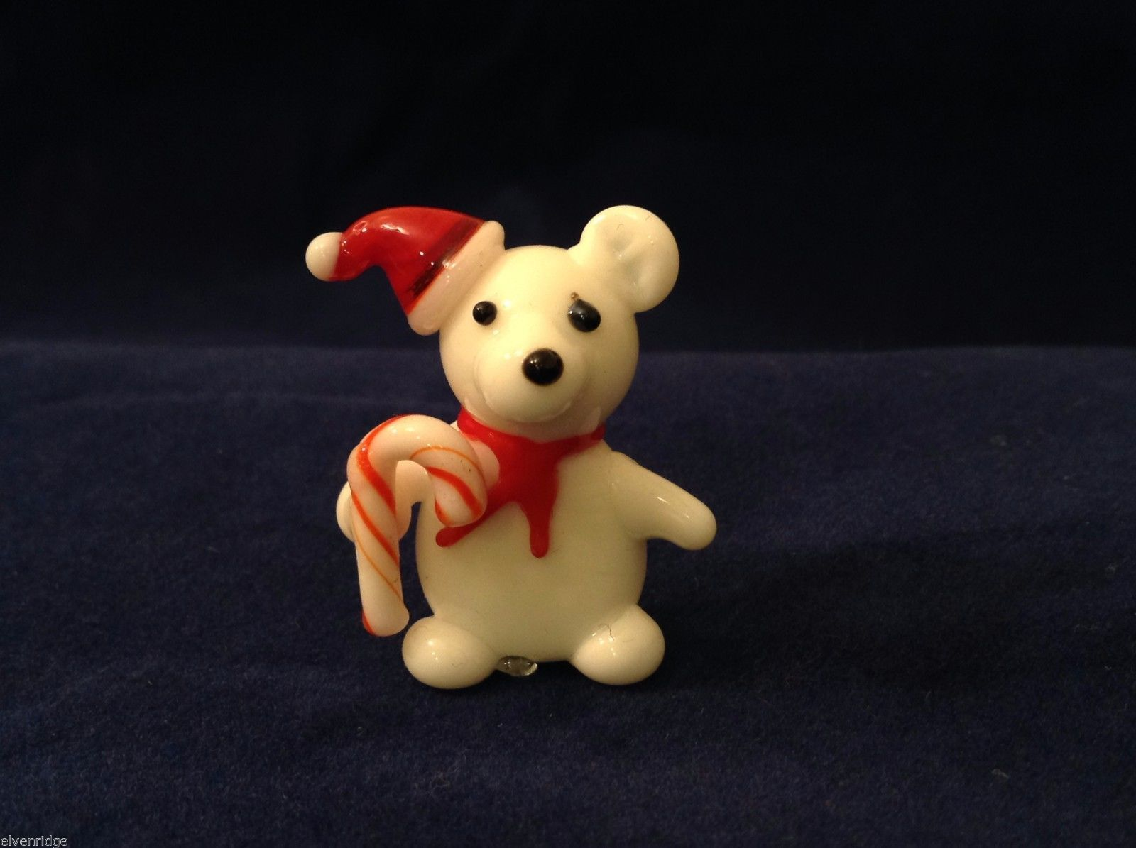 Miniature blown glass figurine Teddy Bear in elf hat w candy cane USA NIB