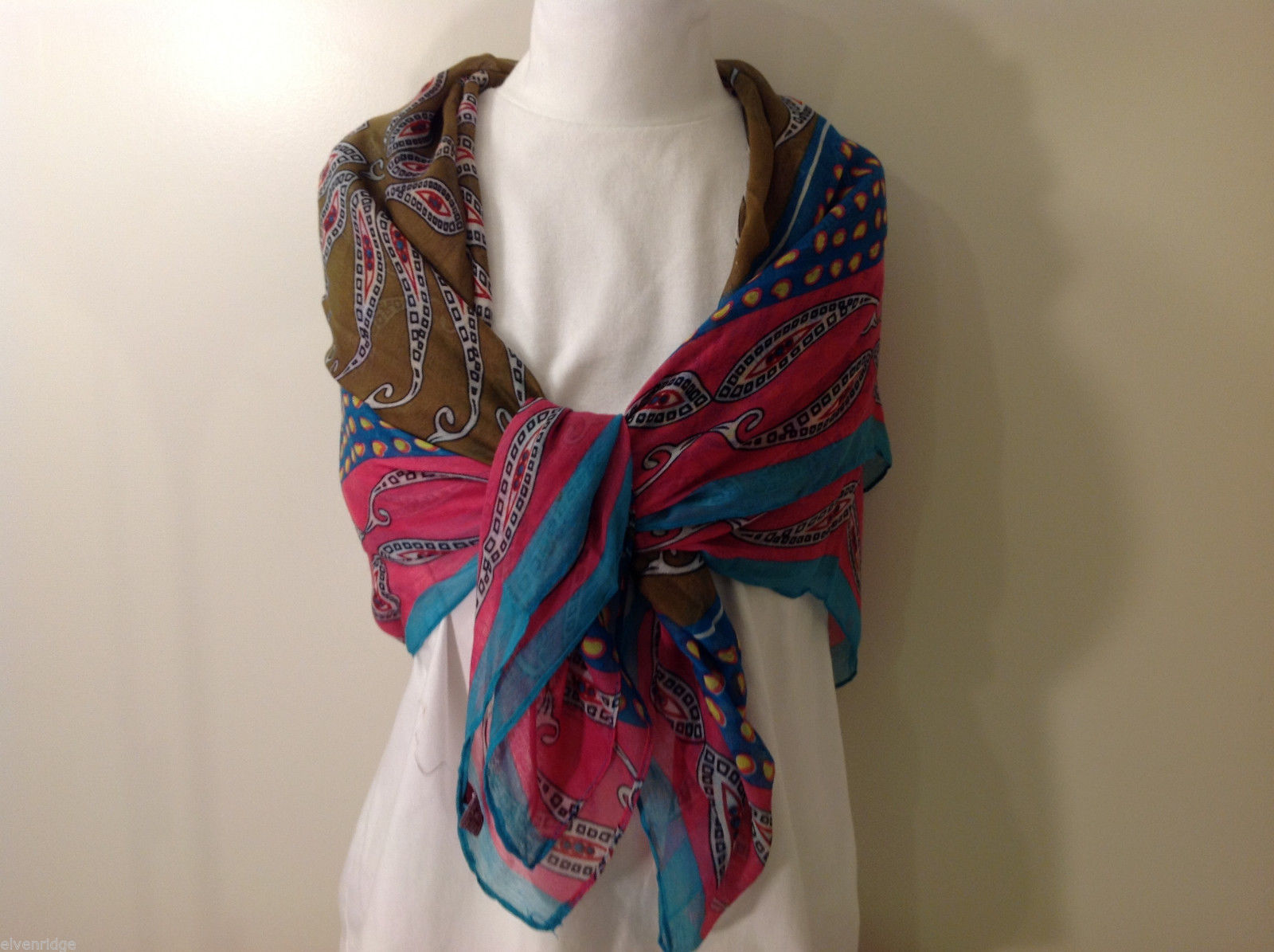 "NEW Brown Teal Blue Pink Patterned Print 100% Polyester Scarf Shawl 75""x 44"""