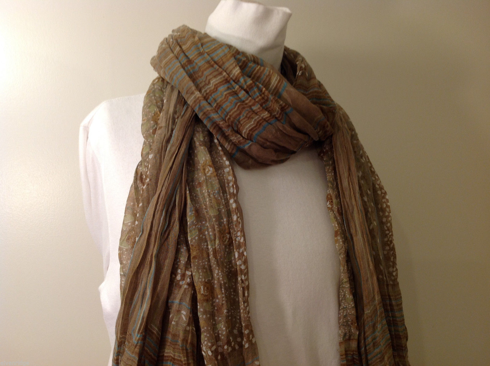 "NEW Light Brown Striped 100% Polyester Crinkly Scarf Shawl 77""x 44"""
