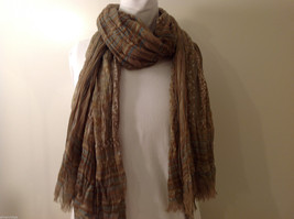 "NEW Light Brown Striped 100% Polyester Crinkly Scarf Shawl 77""x 44"" image 2"