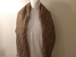"NEW Light Brown Striped 100% Polyester Crinkly Scarf Shawl 77""x 44"" image 5"
