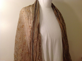 "NEW Light Brown Striped 100% Polyester Crinkly Scarf Shawl 77""x 44"" image 4"