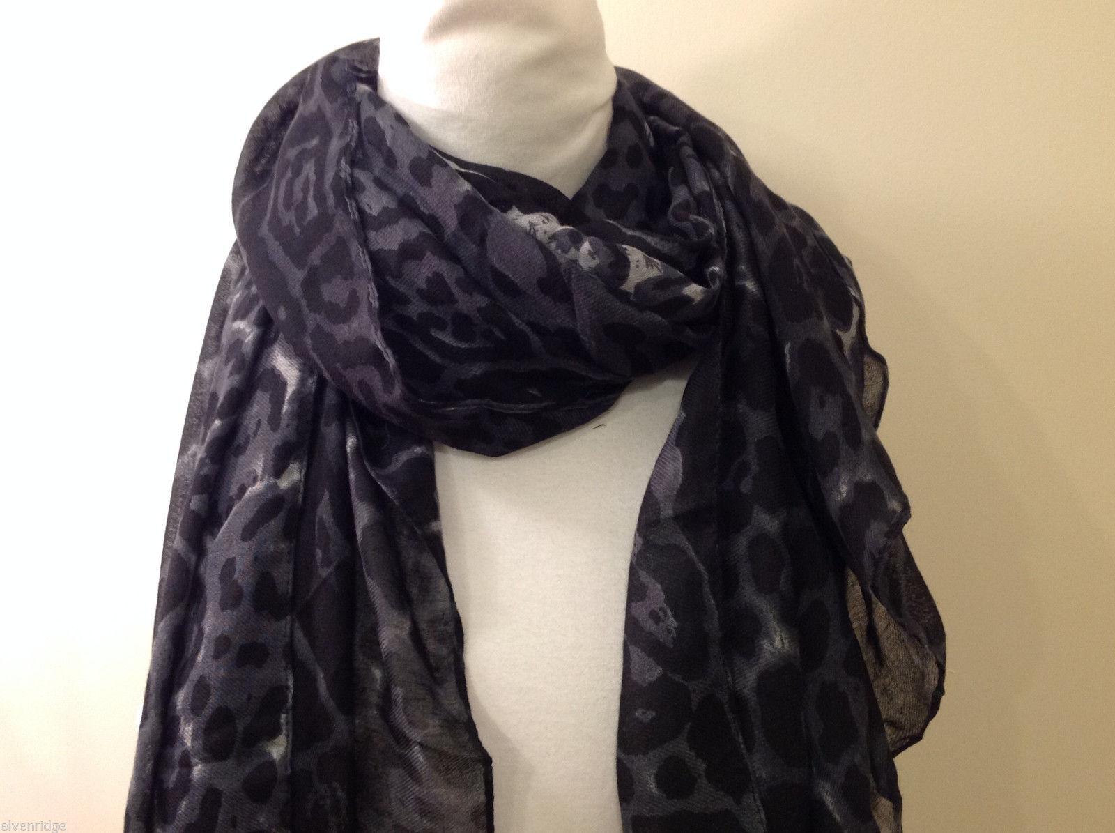 Rectangle Jaguar or Cheetah Print 100% Polyester Gray Black Scarf Wrap - NEW