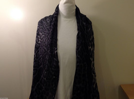 Rectangle Jaguar or Cheetah Print 100% Polyester Gray Black Scarf Wrap - NEW image 2