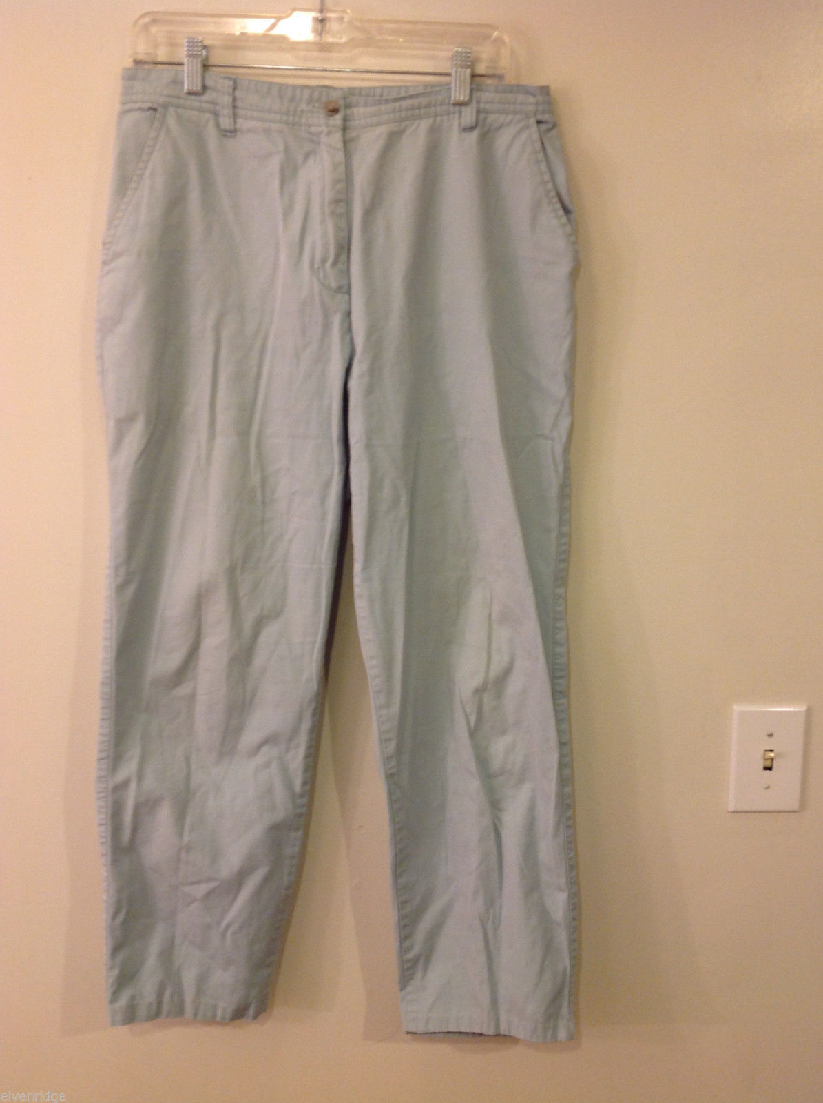 Woolrich Size 12 Womens' Pale Mint Green 100% Cotton Pants Trousers Slacks