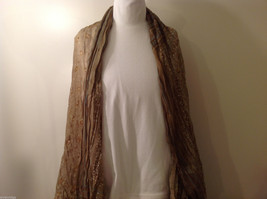 "NEW Light Brown Striped 100% Polyester Crinkly Scarf Shawl 77""x 44"" image 3"