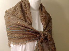 "NEW Light Brown Striped 100% Polyester Crinkly Scarf Shawl 77""x 44"" image 7"
