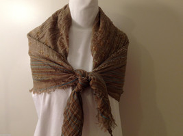 "NEW Light Brown Striped 100% Polyester Crinkly Scarf Shawl 77""x 44"" image 6"