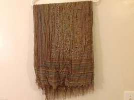 "NEW Light Brown Striped 100% Polyester Crinkly Scarf Shawl 77""x 44"" image 8"