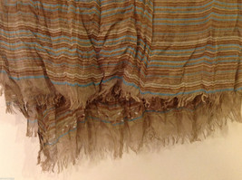 "NEW Light Brown Striped 100% Polyester Crinkly Scarf Shawl 77""x 44"" image 10"