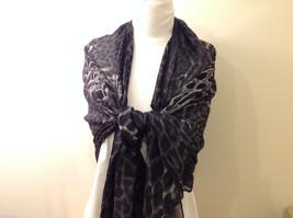 Rectangle Jaguar or Cheetah Print 100% Polyester Gray Black Scarf Wrap - NEW image 5