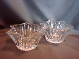 """Pair of Star Shaped """"Celebrations"""" Lead Crystal Mikasa Votive Candle Holders"""