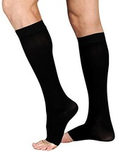 Juzo Soft 2000 Open Toe Knee Highs w/Silicone Band - 15-20 mmHg Black V - $47.96