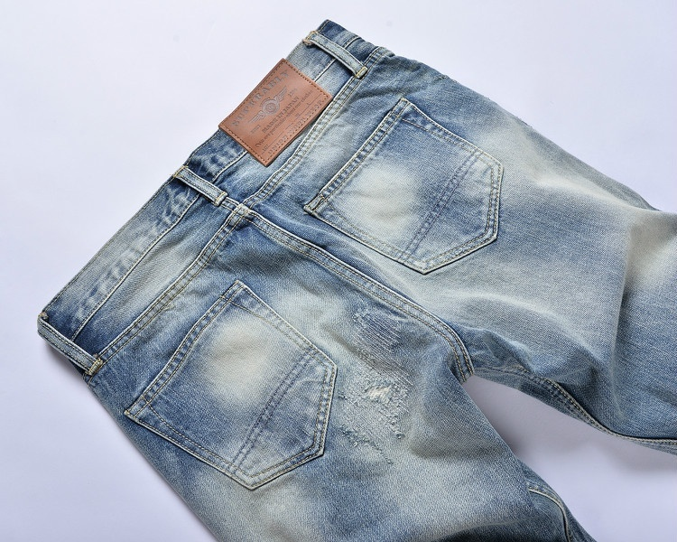 Mens Hole Embroidered Jeans Worn Blue Cotton Denim Straight Men's Casual Jeans