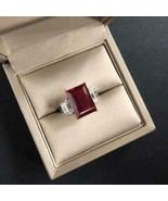3.30Ct Emerald Cut Red Ruby Three Stone Engagement Ring 14K White Gold F... - $118.99