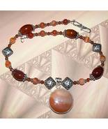 .925 Sterling Silver Carnelian Necklace with Pendant OOAK - $85.00