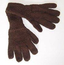 Alpakaandmore Women Hand-knitted Gloves Alpaca Wool (Large, Dark Brown) - $22.77