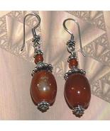.925 Sterling Silver Carnelian Earrings Handmade OOAK - $20.00