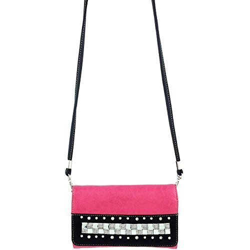 Studded Rhinestone Square Crystals Wallet Clutch Purse Wristlet Messenger Bag (H