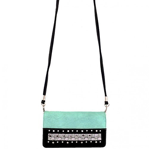 Studded Rhinestone Square Crystals Wallet Clutch Purse Wristlet Messenger Bag (M