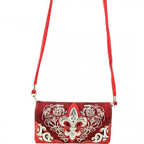 Western Rhinestone Fleur De Lis Wallet Clutch Purse Wristlet Messenger Bag (Red)