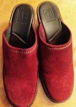 Cole Haan Red Suede Leather Mid Heel Mule Clog 11 B  $248.00 Made In Brazil - $68.31