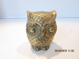 """VINTAGE BRASS OWL FIGURINE GREAT PAPERWEIGHT 3"""" TALL - $4.95"""
