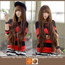 Brown Natural Color Wavy Layered Extra Long Length with Bangs Parted Cap Wig