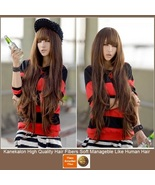 Brown Natural Color Wavy Layered Extra Long Length with Bangs Parted C... - $87.95