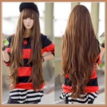 Brown Natural Color Wavy Layered Extra Long Length with Bangs Parted Cap Wig image 2