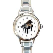 Ladies Round Italian Charm Bracelet Watch Baby Grand Piano Gift model 14... - $11.99