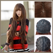 Brown Natural Color Wavy Layered Extra Long Length with Bangs Parted Cap Wig image 3