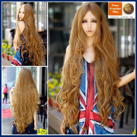 Flaxen Natural Color Blonde Extra Long Wave Layered Length Center Parted Cap Wig