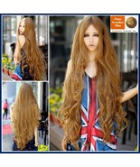Flaxen Natural Color Blonde Extra Long Wave Layered Length Center Parted... - $87.95