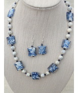 Navy White Lampwork Necklace Earrings Swarovski... - $42.99