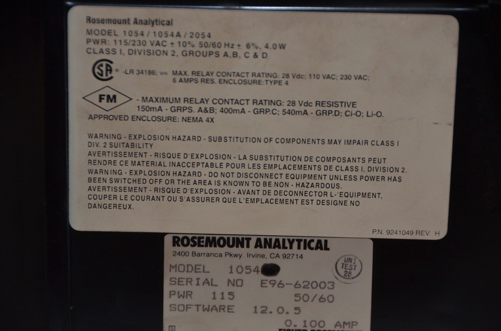Rosemount Analytical Model 1054 A Percent and similar items