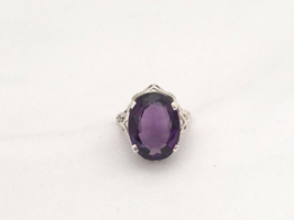 Vintage Sterling Silver Natural Amethyst Filigree Ring Size 6.5 - £41.67 GBP