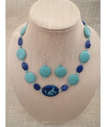 Howlite Necklace Earrings Turquoise Pendant Han... - $42.99